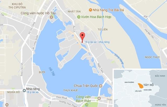 Hiện trường tai nạn (chấm đỏ). Ảnh: Google Maps.
