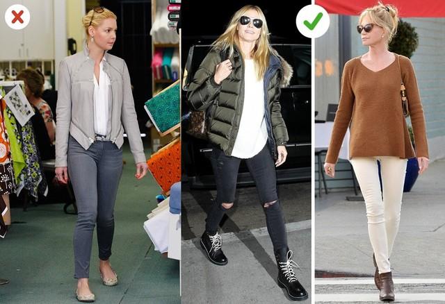 Quần skinny jeans: Đây là kiểu quần bó sát với điểm nhấn ở phần hông, khiến bạn trông thon gọn hơn. Bạn nên kết hợp item này với áo rộng, tránh mặc cùng áo bó, giày bệt hoặc giày dép đơn giản. Thay vào đó, giày thể thao, cao cổ hoặc giày cao gót rất phù hợp với skinny jeans.
