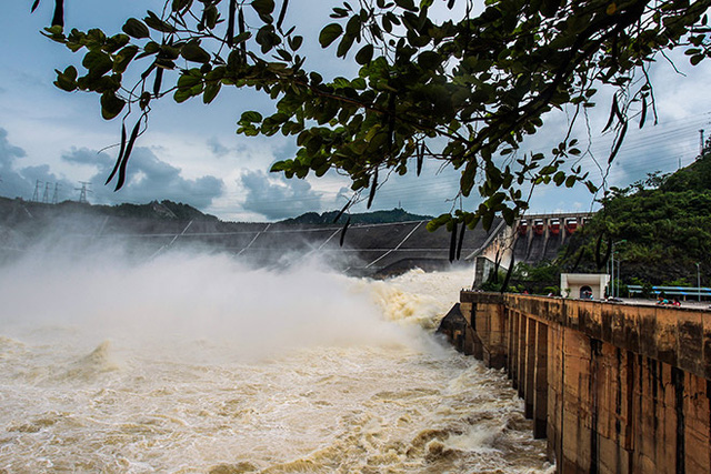 Hồ thủy điện Hòa Bình đã có lúc phải xả đến 8 cửa xả đáy để thoát lũ. Ảnh Việt Linh.
