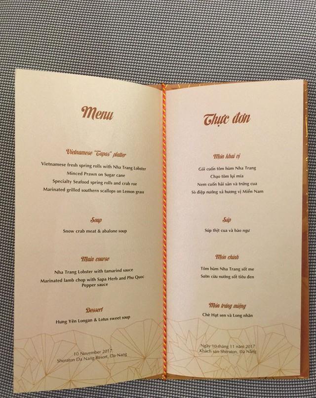 Thực đơn cho bữa tối của các nhà lãnh đạo APEC.