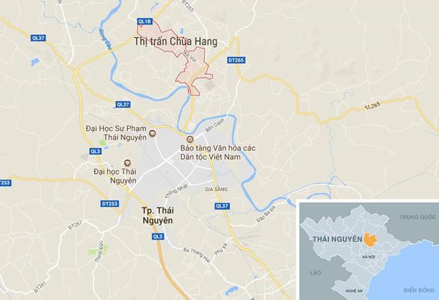 Thị trấn Chùa Hang cách trung tâm TP Thái Nguyên khoảng 3 km về phía Bắc . Ảnh:Google Maps.