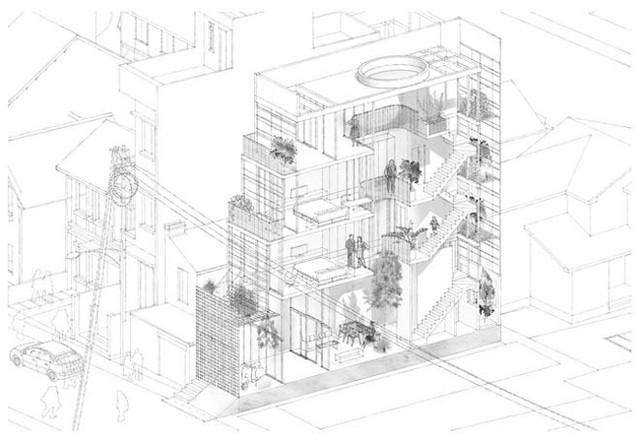 Để khắc phục, các kiến trúc sư đã thiết kế nên một công trình dạng bậc thang, bố trí giếng trời ở trung tâm ngôi nhà giúp phân bổ ánh sáng đồng đều từ trước ra sau, từ trên xuống dưới.