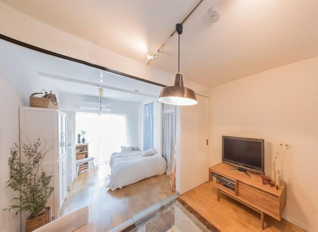 Căn hộ rất đơn giản, phòng ngủ và khu phòng khách được phân tách bằng vách ngăn.