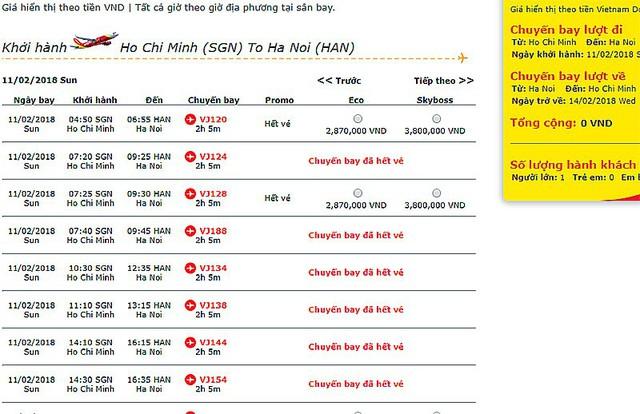 Một số chuyến bay giờ đẹp sau 23 tháng Chạp đã hết vé (ảnh chụp màn hình mua vé online trên trang của VJA)