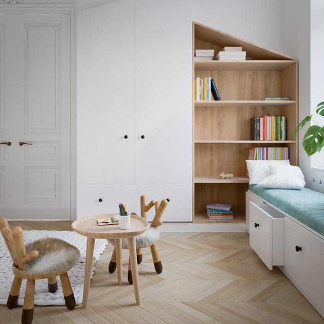 Không gian tuy không rộng lắm nhưng có đầy đủ những góc nhỏ cần thiết như giường ngủ, tủ đựng đồ, ghế thư giãn, đọc sách…