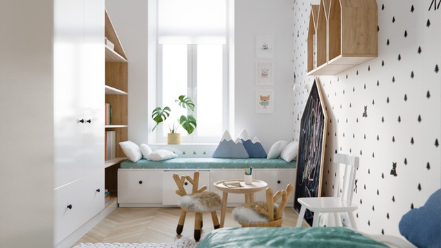 Họa tiết của giấy dán tường giúp căn phòng tạo được chiều sâu ấn tượng. Thêm màu xanh ngọc cho không gian thêm những điều kỳ diệu.