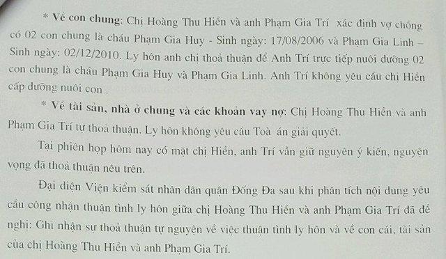Ảnh chụp từ Quyết định giải quyết việc dân sự về yêu cầu công nhận thuận tình ly hôn của TAND quận Đống Đa, Hà Nội. Ảnh: NVCc