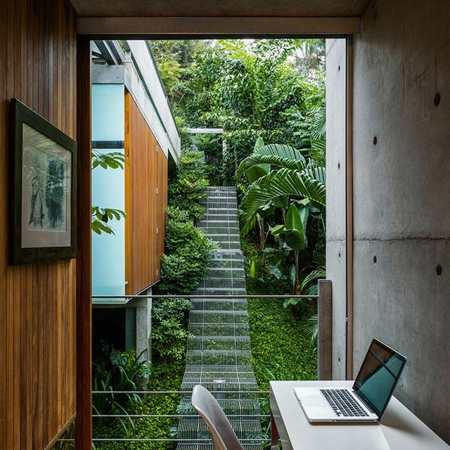 Có thể thấy một khu vực làm việc nhìn ra bên ngoài cầu thang; từ nội thất, cảnh quan làm ta cảm nhận như chủ nhân ngôi nhà đang làm việc xung quanh rừng và cây xanh vậy.