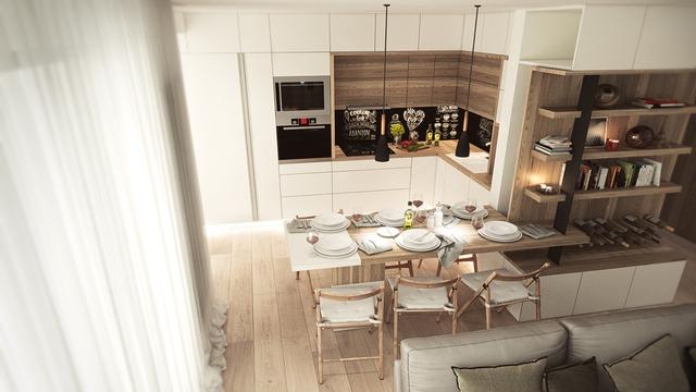 4. Nhìn từ trên xuống, phòng ăn này thật đẹp. Sự ấn tượng xuất phát từ việc kết hợp gỗ nhiều cấp độ màu sắc với nhau, từ bàn ghế, tủ kệ, sàn nhà,… Những chiếc ghế gập cổ điển cũng giúp bạn sễ dàng mở rộng không gian khi cần.