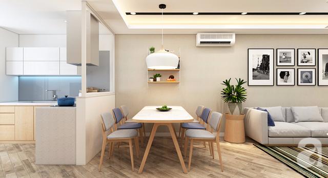 Một gian bếp khiêm tốn giúp không gian phòng khách và phòng ăn rông rãi hơn.