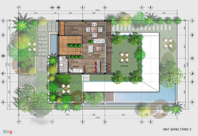 Tầng 3 của biệt thự có 2 vườn treo rộng tại hai hướng khác nhau.
