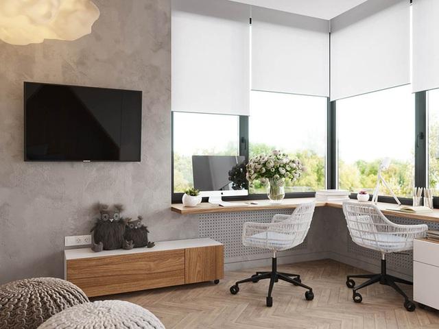 Sự tiết chế trong cách lựa chọn nội thất và màu sắc luôn mang đến cho con sự thoải mái khi căn phòng trở nên gọn ghẽ và ưa nhìn.