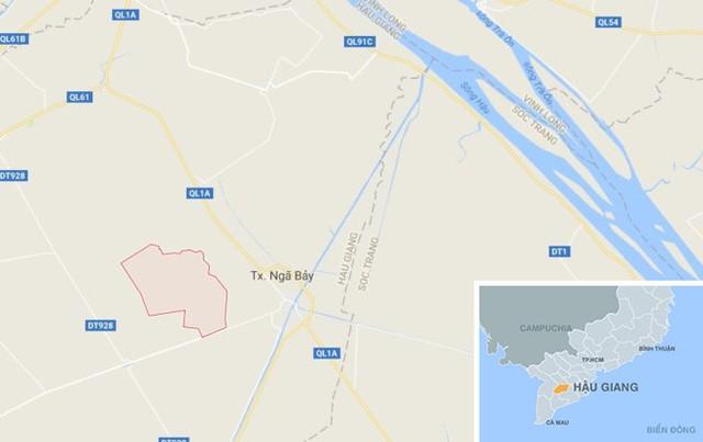 Xã Phụng Hiệp (màu đỏ) ở Hậu Giang.