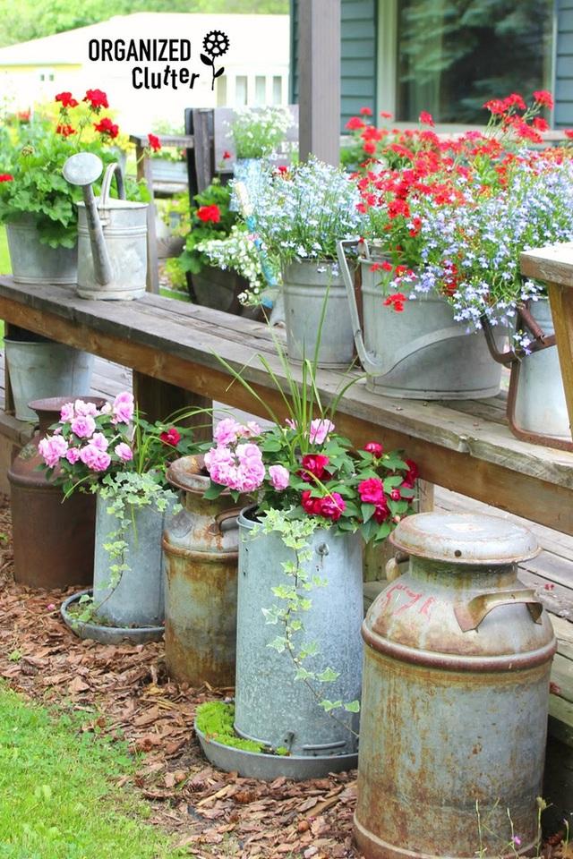 4. Một cách làm dễ dàng để tạo màu sắc cho sân sau nhà bạn, chính là tận dụng các đồ vật cũ trong nhà rồi trồng hoa ở đó.