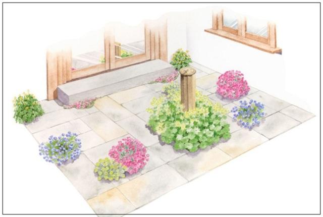 4. Mảnh đất trước nhà khá hạn hẹp. Bạn có thể lát gạch và để lại những kẽ hở nho nhỏ để trồng những loài hoa bụi, tạo điểm nhấn độc đáo cho mảnh sân.