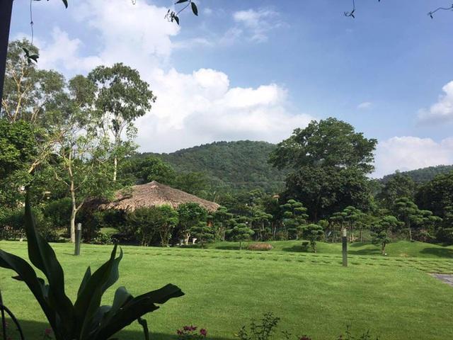 Khung cảnh nhìn từ hiên nhà chính là màu xanh ngút ngàn của cỏ cây