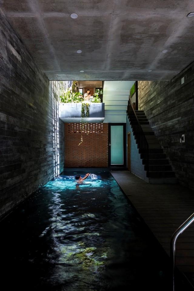 Toàn bộ diện tích tầng một chưa cho thuê được dùng làm nơi để xe máy và một bể bơi dài 9 m.
