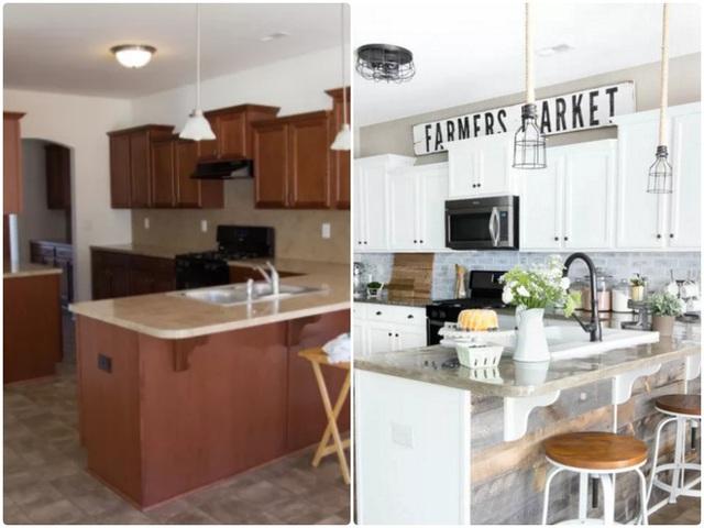 4. Bếp nối liền với phòng khách là một giải pháp tuyệt vời để giúp không gian chật trở nên rộng hơn. Tuy nhiên, cách sắp xếp không gọn gàng luôn là điểm trừ khiến căn bếp lộn xộn và ngôi nhà cũng trở nên nhỏ hẹp. Giải pháp cho bạn là dùng màu sắc để tạo điểm nhấn cho không gian, dùng kệ gắn tường thay cho tủ tù túng và nặng nề. Tất cả những gam màu vui nhộn sẽ giúp căn bếp ngay lập tức trở nên sáng và đẹp hơn.