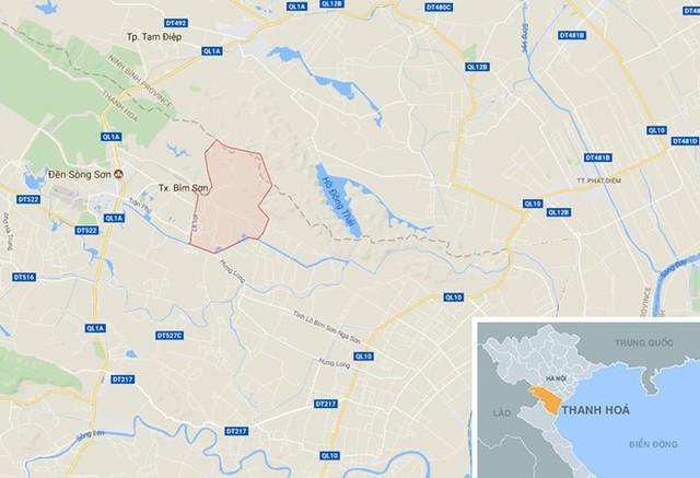 Thi thể bé gái được phát hiện ở bãi rác phường Đông Sơn (Bỉm Sơn), cách nhà nạn nhân 10 km. Ảnh: Google Maps.