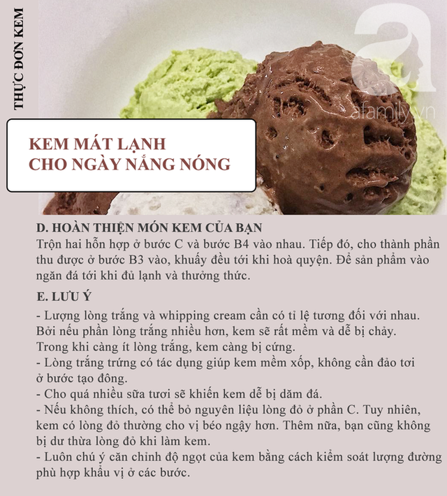 Các bước hoàn thiện món kem và những lưu ý quan trọng.