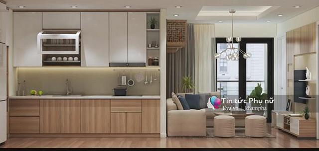 Để tiết kiệm tối đa diện tích, KTS thiết kế không gian phòng bếp và phòng khách liên thông với nhau.