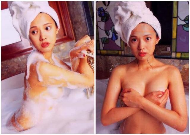 """Mỹ nữ sinh năm 1969 từng bị tung cảnh tắm trần nóng bỏng trong bộ ảnh """"Người tình"""" vào năm 2000 đúng thời điểm cô kết hôn với Dữu Trùng Khánh."""