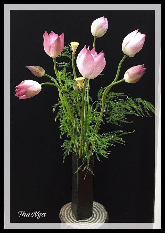 Khi cắm sen, chị Thu Nga thường chọn bình dáng cao để tôn trọn vẻ đẹp thanh thoát của hoa