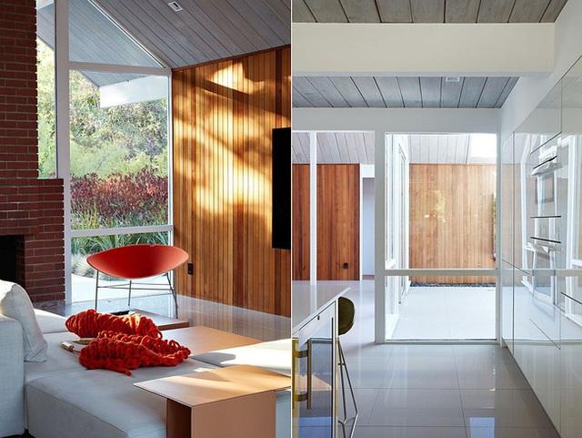 Chủ nhân ngôi nhà thích cắt nhỏ những mảnh gỗ dài rồi ghép lại với nhau hơn là sử dụng loại gỗ trơn mịn để làm tường.