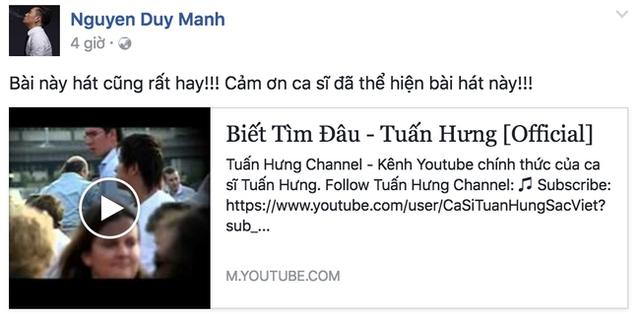 Trên trang cá nhân, vị nhạc sĩ chia sẻ 2 video clip do Tuấn Hưng thể hiện, đây cũng chính là 2 sáng tác đình đám của Duy Mạnh.