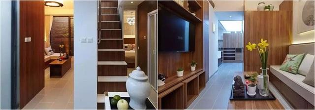 Cầu thang ngăn chia hai khu vực chức năng: tiếp khách và nghỉ ngơi.