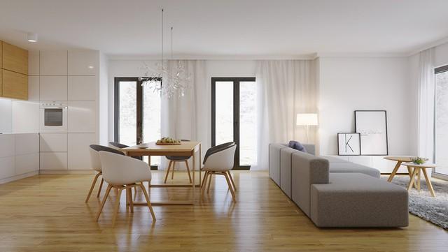 5. Phòng ăn này thiết kế liên thông với phòng khách nên những gì chúng ta cảm nhận chính là sự rộng rãi và thoáng đãng. Vật liệu gỗ được sử dụng có tông màu đậm nên trông vô cùng nổi bật và ấm áp.