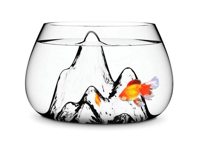 Những ngọn núi nhân tạo được thiết kế bên trong bể cá tạo không gian sống tươi vui cũng như sự sống động cho không gian.