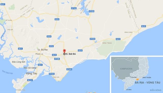 Vụ việc xảy ra tại thị trấn Đất Đỏ, huyện Đất Đỏ, Bà Rịa - Vũng Tàu. Ảnh: Thiên Sơn.