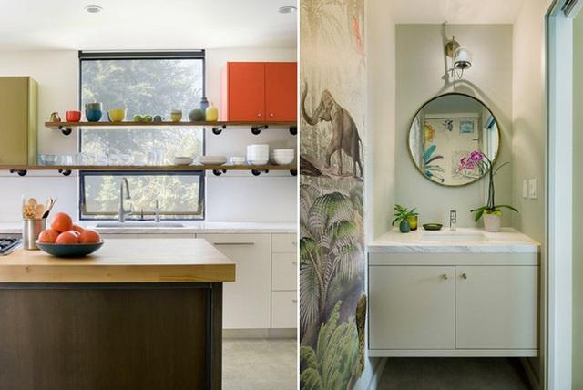 Lấy cảm hứng từ phong cách miền nhiệt đới thì màu sắc của căn bếp, bức tranh dán tường đáng yêu về nhân vật trong bộ phim The Jungle Book, chiếc gương tròn phản chiếu hình cánh cửa với giấy dán đẹp mắt cho ta đầy cảm hứng như thế.