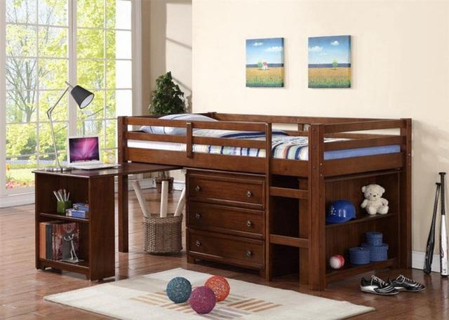 5. Một thiết kế giường kèm tủ đựng đồ vô cùng đơn giản, giường được đóng phía trên với chiều cao phù hợp. Phía dưới được thiết kế linh hoạt gồm kệ và tủ đựng đồ tiện lợi.