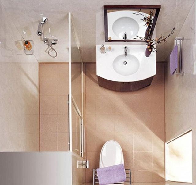 Cửa kính trong suốt được sử dụng ngăn cách hai không gian phòng tắm và phòng vệ sinh.