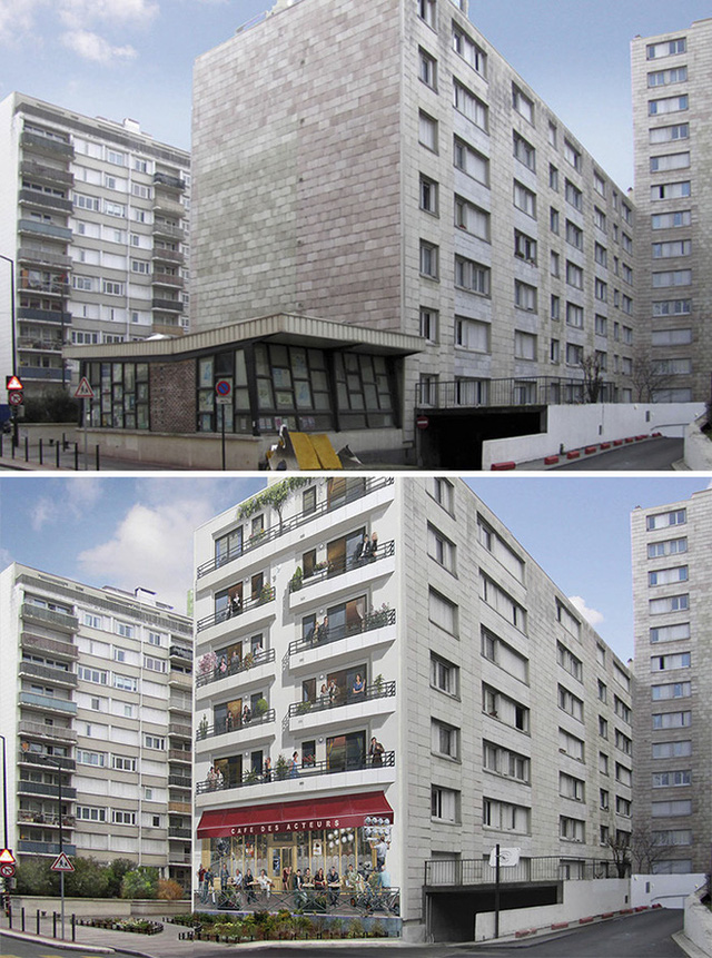 Một bức tường bên hông của tòa nhà sẽ khiến cho mặt tiền trở nên hài hòa và ấn tượng khi có thêm những ô cửa và sử dụng màu sơn tương đồng với màu của mặt tiền.
