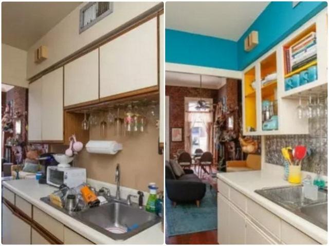 5. Không gian bếp có đủ ánh sáng tự nhiên luôn mang lại sự rộng thoáng bất ngờ. Nếu bếp quá chật, mọi thứ đã sắp xếp gọn gàng. Bạn cũng có thể nới rộng căn phòng bằng việc mở thêm cánh cửa và chọn kệ cùng tông màu với tường. Bếp không chỉ đẹp thoáng mà còn rộng rãi bất ngờ.