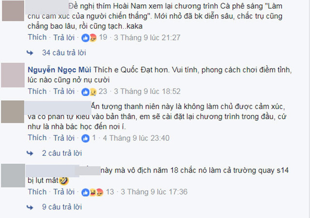 Một số ý kiến trái chiều về cảm xúc của Hoài Nam