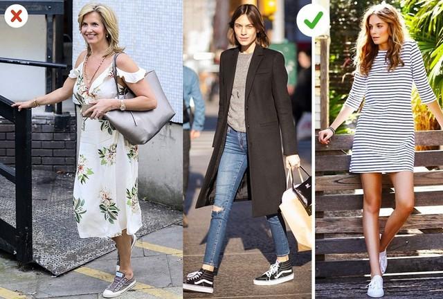Giày thể thao: Hãy chọn những trang phục đơn giản thay vì váy hoa mỏng. Bạn cũng nên mặc đồ trung tính và ít họa tiết khi mix cùng sneakers.