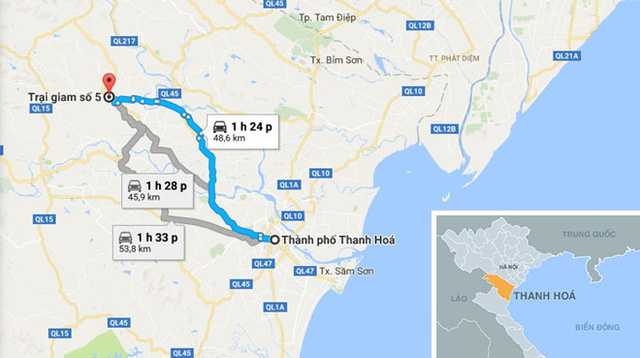 Nơi đàn lợn bị chết trong dòng nước lũ gần Trại giam số 5, cách TP Thanh Hóa hơn 50 km. Ảnh: Google Maps.