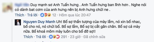 Tuy nhiên, dưới phần bình luận Duy Mạnh sử dụng từ ngữ khá mạnh bạo để trò chuyện cùng cư dân mạng.