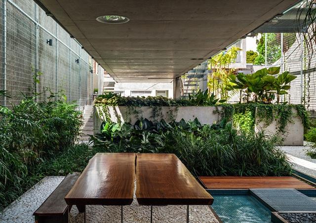 Các cây xanh được bố trí rải rác ở khắp các không gian, tại các bể bơi nhỏ và lớn.