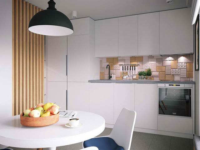 Khu bếp - ăn nhỏ nhưng đủ đầy chức năng với những ngăn kệ lưu trữ lớn.