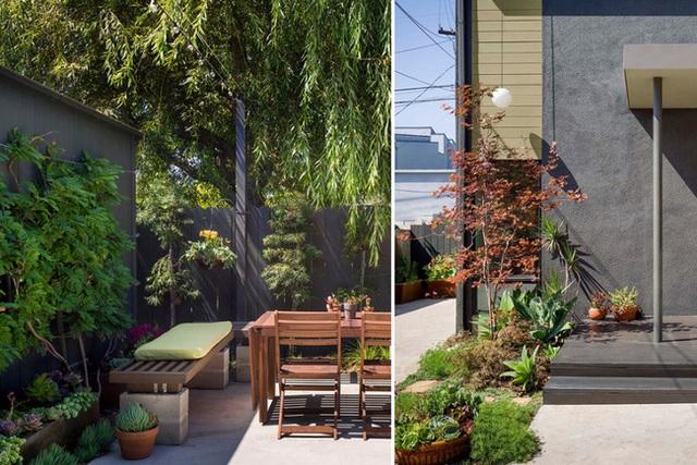 Ngoài nội thất tuyệt đẹp và đơn giản, bạn cũng sẽ yêu thích khu vực ngoài trời của ngôi nhà. Nó gồm một sân nhỏ riêng, cây xanh tươi tốt, bàn thưởng trà và khu vực tắm nắng.