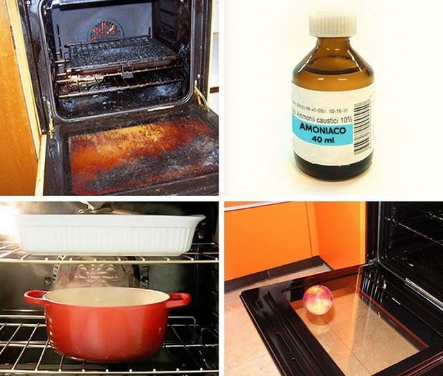 Cách khác với nguyên liệu từ 1 cốc amoni clorua và 1 lít nước. Làm nóng lò nướng ở nhiệt độ 150 độ, sau đó tắt lò. Đặt một nồi hoặc bát nước nóng ở tầng dưới của lò nướng và một bát/nồi amoni clorua ở tầng trên. Đóng cửa lò và để nó nguội qua đêm. Sáng hôm sau, thêm vài thìa cafe chất tẩy rửa nào và 1/2 chén nước ấm vào nồi amoni clorua. Lau lò nướng với hỗn hợp này bằng bọt biển và sau đó lau lại bằng nước sạch.