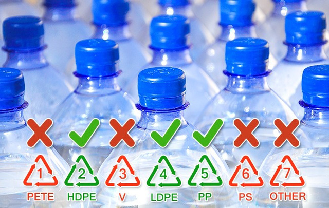 Chai làm từ polyethylene (2 và 4) và polypropylene (5 và PP) phù hợp cho nhiều mục đích. Chúng tương đối an toàn nếu bạn chỉ đựng nước lạnh và thường xuyên khử trùng.