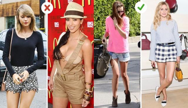 Quần shorts: Bạn nên chọn kiểu quần shorts có chất liệu dày dặn, hình dáng chắc chắn. Nên tránh chất liệu ren vì chúng trông giống quần ngủ và khiến bạn mập hơn. Ngoài ra, không nên kết hợp quần shorts với những chiếc áo mỏng và quá sexy.