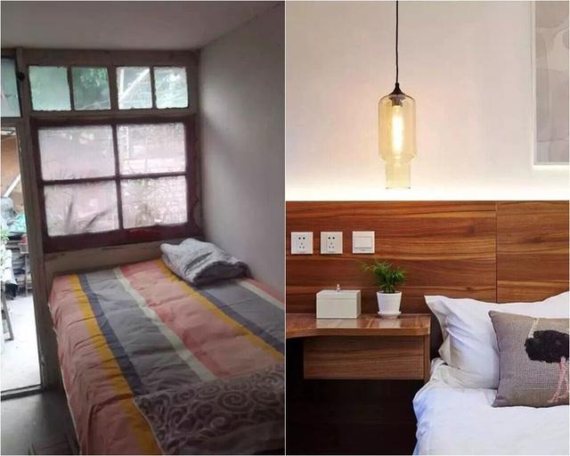 Phòng ngủ trước và sau khi cải tạo.