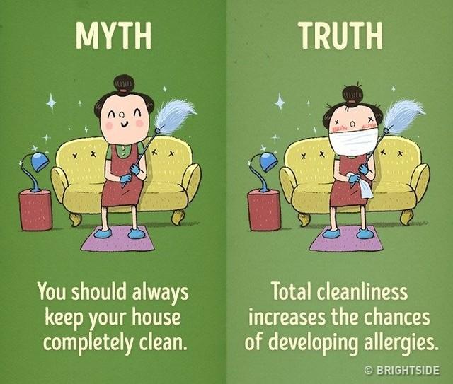 Sạch sẽ quá gia tăng khả năng mắc cách bệnh về dị ứng.